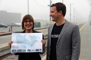 Kadie Ward, Build Strong Cities, and Josh Wright, Decision IO waiting to board VIA Rail for their trans-Canada ride